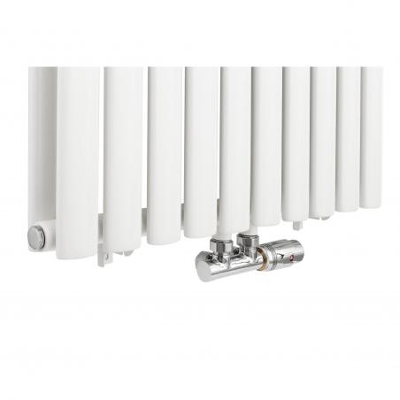 Zawór termostatyczny zespolony Multiflow, figura kątowa prawa, kolor chrom.