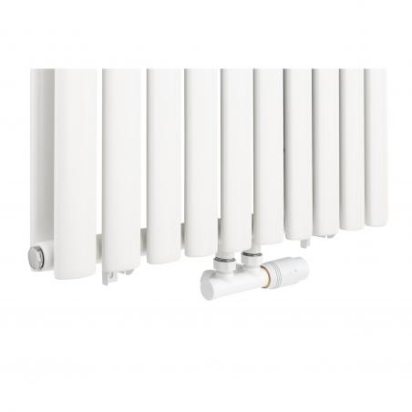 Zawór termostatyczny zespolony Multiflow, figura kątowa prawa, kolor biały.