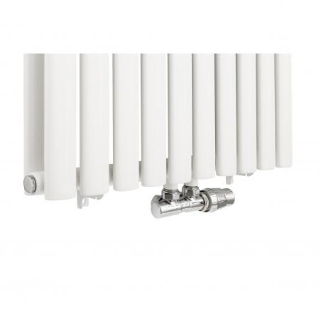 Zawór termostatyczny zespolony Twins, figura kątowa prawa w kolorze białym.