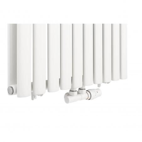 Zawór termostatyczny zespolony Twins w kolorze białym, figura kątowa prawa.