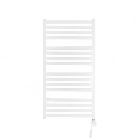 Grzejnik łazienkowy elektryczny o prostokątnych profilach Terma Moon. Wymiary 96x50cm, kolor biały z zamontowaną z prawej strony grzałką elektryczną Terma Moa w kolorze białym, o mocy 400W.