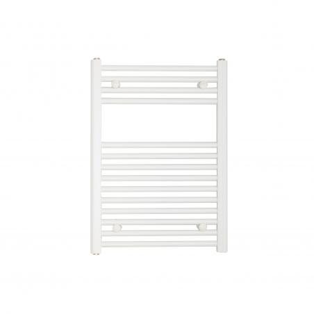 Grzejnik łazienkowy Constans w kolorze białym błyszczącym o wymiarach 70x50cm z podłączeniem dolnym o rozstawie 455mm.