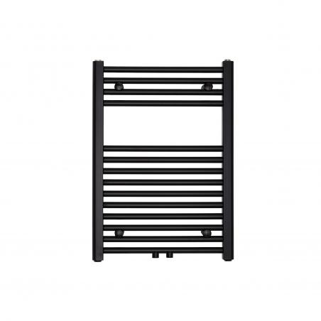 Grzejnik łazienkowy Constans w kolorze czarnym o wymiarach 70x50cm z podłączeniem dolnym środkowym o rozstawie 50mm.