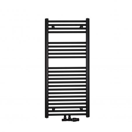 Grzejnik łazienkowy drabinkowy Constans 110x50cm w kolorze czarnym z podłączeniem dolnym środkowym o rozstawie 50mm. Zamontowany zawór zespolony Vario Term Twins czarny w figurze kątowej prawej.