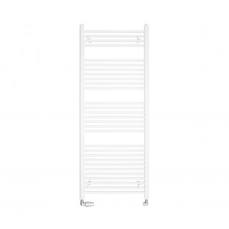 Grzejnik łazienkowy drabinkowy Constans 150x60cm w kolorze białym błyszczącym z podłączeniem dolnym o rozstawie 550mm. Zamontowany zestaw termostatyczny Vision firmy Vario Term, w kolorze chrom, figura osiowa lewa.