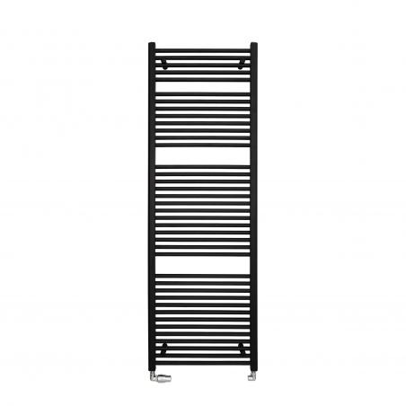 Grzejnik łazienkowy Constans o wymiarach 180x50 w kolorze czarnym z podłączonym zestawem termostatycznym Integra chrom w figurze lewej.