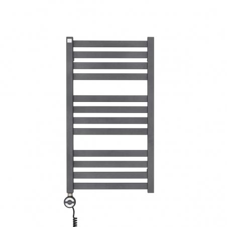Grzejnik łazienkowy elektryczny Terma Moon antracytowy / grafitowy o wymiarach 71x40cm z zamontowaną z prawej strony grzałką elektryczną Moa w kolorze czarnym o mocy 300W.