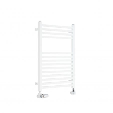 Dekoracyjny grzejnik łazienkowy Essence o wymiarach 70x50cm w kolorze białym z podłączeniem dolnym o rozstawie 470mm z chromowanym zestawem termostatycznym Vario Term Quattro w figurze osiowo-lewej.