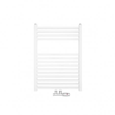 Nowoczesny grzejnik łazienkowy dekoracyjny Essence o wymiarach 70x50cm w kolorze białym z podłączeniem dolnym środkowym o rozstawie 50mm oraz z zamontowanym chromowanym zaworem zespolonym Multiflow, figura kątowa prawa.