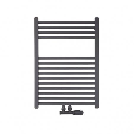 Nowoczesny grzejnik łazienkowy dekoracyjny Essence o wymiarach 70x50cm w kolorze antracytowym / grafitowym z podłączeniem dolnym środkowym o rozstawie 50mm oraz z zamontowanym zaworem zespolonym Multiflow antracyt, figura kątowa prawa.