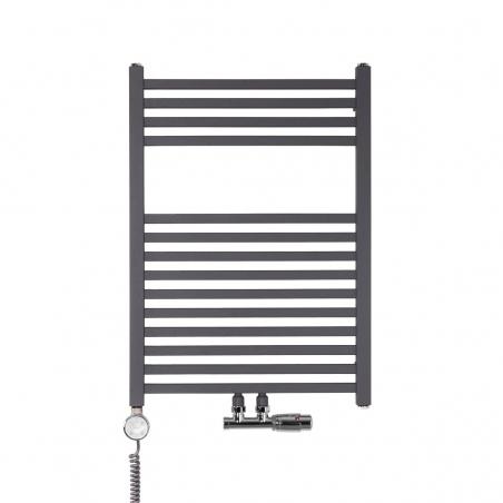 Nowoczesny grzejnik łazienkowy dekoracyjny Essence o wymiarach 70x50cm w kolorze antracytowym / grafit struktura z podłączeniem dolnym środkowym o rozstawie 50mm oraz z zamontowanym chromowanym zaworem zespolonym Multiflow, figura kątowa prawa. Dodatkowo z lewej strony chromowana grzałka elektryczna Terma Moa 300W.