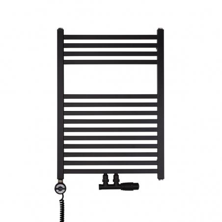 Nowoczesny grzejnik łazienkowy dekoracyjny Essence o wymiarach 70x50cm w kolorze czarnym matowym z podłączeniem dolnym środkowym o rozstawie 50mm oraz z zamontowanym zaworem zespolonym Multiflow czarnym, figura kątowa prawa. Dodatkowo z lewej strony czarna grzałka elektryczna Terma Moa 300W.