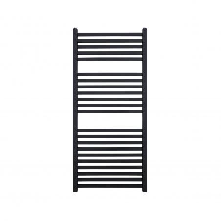 Płaski grzejnik łazienkowy Essence w kolorze antracyt / grafit struktura o wymiarach 110x50cm z podłączeniem dolnym  o rozstawie 470mm.
