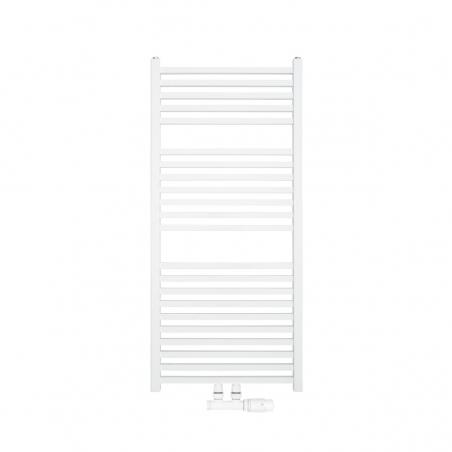 Nowoczesny grzejnik łazienkowy Essence w kolorze białym błyszczącym o wymiarach 110x50cm z podłączeniem dolnym środkowym o rozstawie 50mm. U dołu zamontowany zawór zespolony Multiflow w kolorze białym i figurze kątowej prawej.