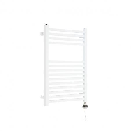 Grzejnik łazienkowy elektryczny Essence o wymiarach 70x50cm w kolorze białym błyszczącym z grzałką Terma REG3 o mocy 300W, w kolorze białym  zamontowaną z prawej strony grzejnika.