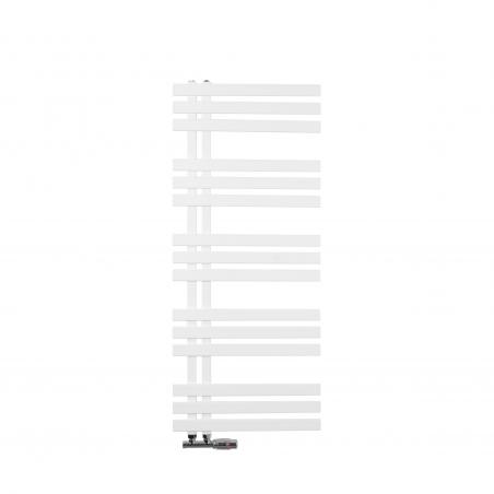 Grzejnik łazienkowy dekoracyjny Elche biały o wymiarach 120x50cm z chromowanym zaworem Multiflow figura prawa