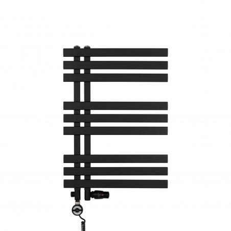 BSGrzejnik łazienkowy Elche 69x50cm czarny z zestawem trójników Integra w kolorze czarnym figura osiowo-lewa oraz z grzałką Terma Moa czarną