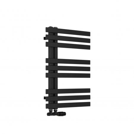 Grzejnik łazienkowy Elche 94x50cm czarny z zaworem Multiflow czarnym figura kątowa prawa