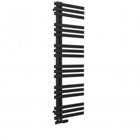 Grzejnik łazienkowy Elche 145x50cm czarny z zaworem Multiflow czarny figura kątowa prawa