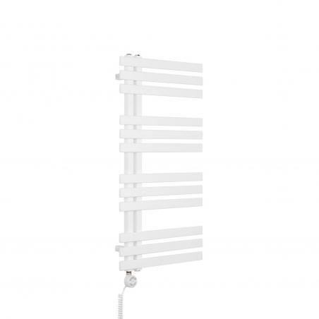 Grzejnik łazienkowy dekoracyjny Elche biały o wymiarach 94x50cm z grzałḱą Terma Moa białą