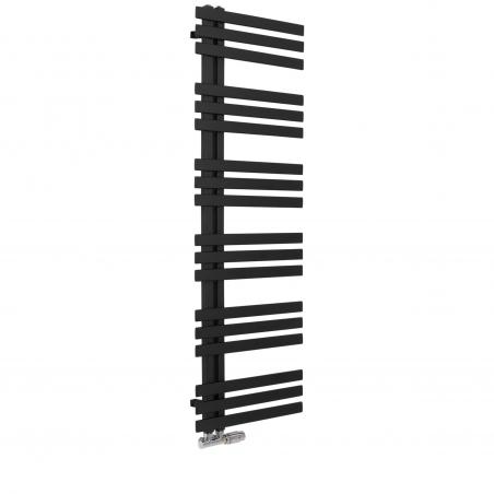 Grzejnik łazienkowy Elche 145x50cm czarny z zaworem Multiflow chromowany figura kątowa prawa