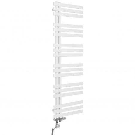 Grzejnik łazienkowy dekoracyjny Elche biały o wymiarach 145x50cm z zestawem termostatycznym Integra chrom oraz z grzałką Terma Moa chrom