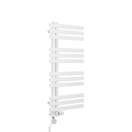 Grzejnik łazienkowy dekoracyjny Elche biały o wymiarach 94x50cm z zestawem termostatycznym Integra biała oraz z grzałką Terma Moa białą