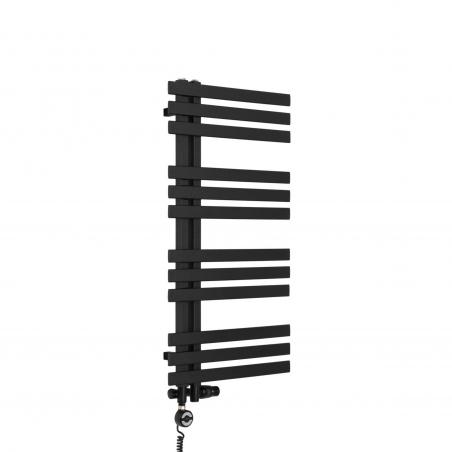 Grzejnik łazienkowy Elche 94x50cm czarny z zestawem trójników Integra oraz z grzałką Terma Moa czarną