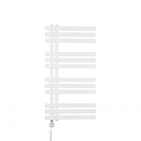 Grzejnik łazienkowy dekoracyjny Elche biały o wymiarach 94x50cm z grzałką Terma Moa białą