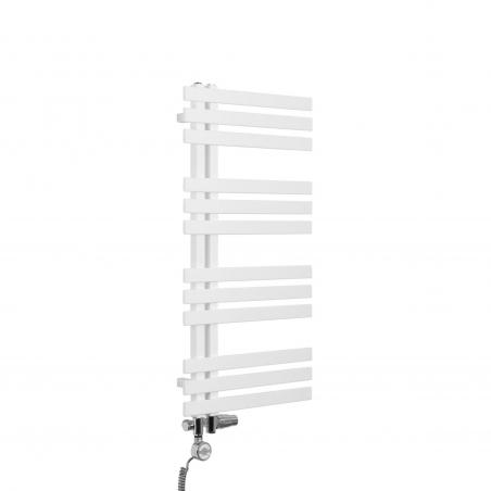 Grzejnik łazienkowy dekoracyjny Elche biały o wymiarach 94x50cm z zestawem termostatycznym Integra chrom oraz z grzałką Terma Moa chrom
