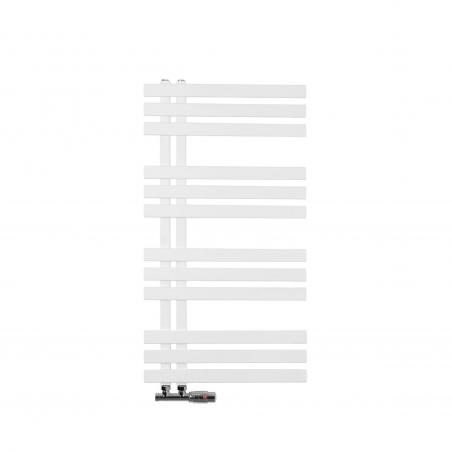 Grzejnik łazienkowy dekoracyjny Elche biały o wymiarach 94x50cm z zaworem Multiflow chromowanym figura prawa