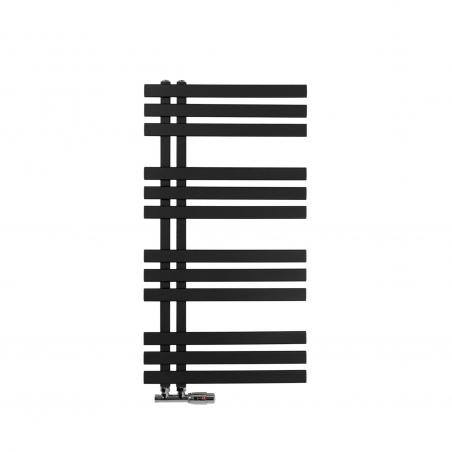 Grzejnik łazienkowy Elche 94x50cm czarny z zaworem Multiflow chromowanym figura kątowa prawa