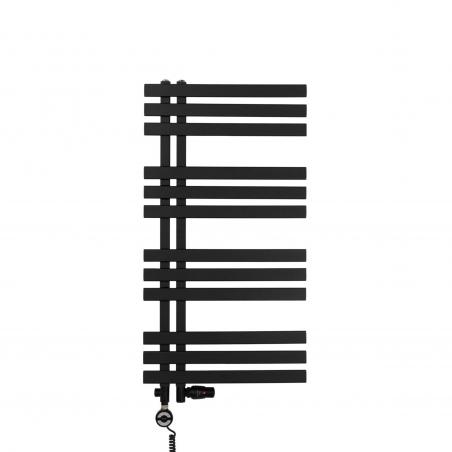 Grzejnik łazienkowy Elche 94x50cm czarny z zestawem trójników Integra w kolorze czarnym figura osiowo-lewa oraz z grzałką Terma Moa czarną