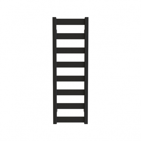 Grzejnik łazienkowy Terma Leda. Grzejnik wąski o szerokości 30cm i wysokości 91cm, kolor czarny mat, z podłączeniem dolnym o rozstawie 270mm