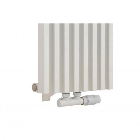 Zawór termostatyczny zespolony Multiflow biały, figura kątowa prawa, podłączony do grzejnika dekoracyjnego Diva 180x30 białego.