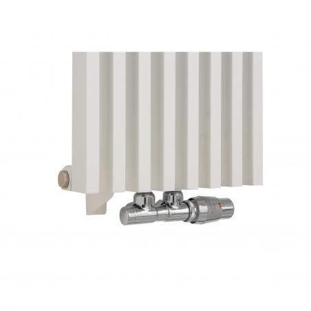 Zawór termostatyczny zespolony Twins chrom, figura kątowa prawa, podłączony do grzejnika dekoracyjnego Diva 180x30 białego.