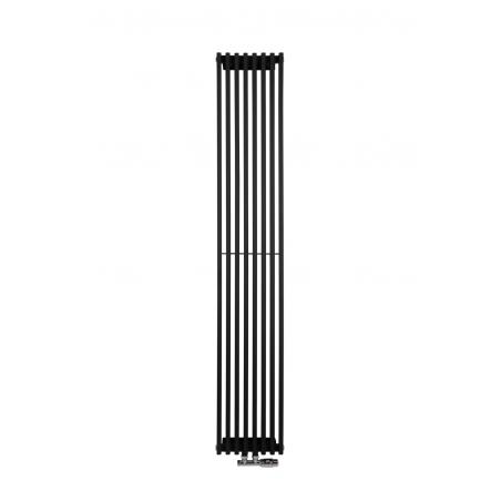 Grzejnik dekoracyjny Pionowy Diva o wymiarach 180x30 z zaworem termostatycznym zespolonym Multiflow w figurze kątowej prawej, kolor chrom.