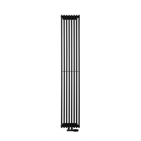 Grzejnik dekoracyjny Pionowy Diva o wymiarach 180x30 z zaworem termostatycznym zespolonym Multiflow w figurze kątowej prawej, kolor czarny.