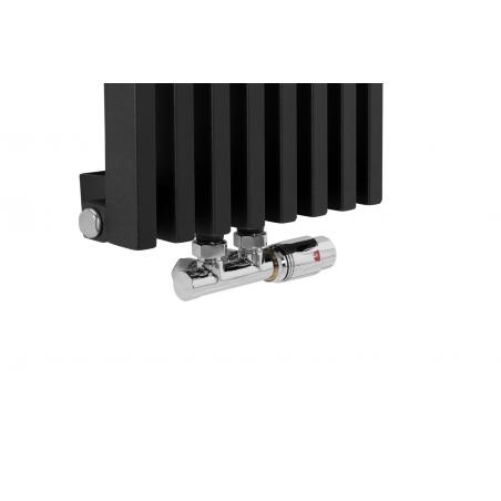 Zawór termostatyczny zespolony Multiflow chrom, figura kątowa prawa na grzejniku dekoracyjnym Diva o wymiarach 180x30 czarnym matowym.
