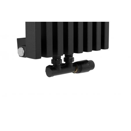 Zawór termostatyczny zespolony Multiflow czarny, figura kątowa prawa na grzejniku dekoracyjnym Diva o wymiarach 180x30 czarnym matowym.