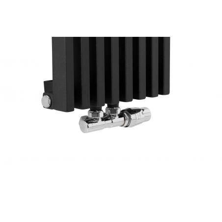 Zawór termostatyczny zespolony Twins chrom, figura kątowa prawa na grzejniku dekoracyjnym Diva o wymiarach 180x30 czarnym matowym.