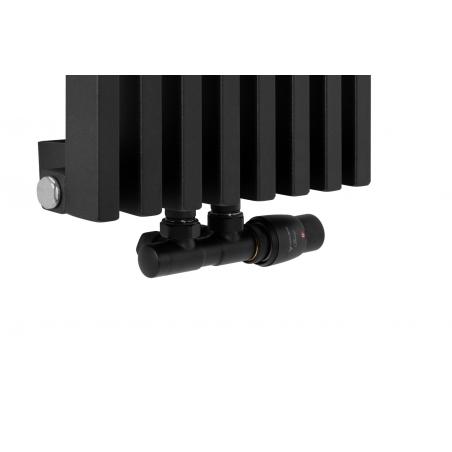 Zawór termostatyczny zespolony Twins czarny, figura kątowa prawa na grzejniku dekoracyjnym Diva o wymiarach 180x30 czarnym matowym.