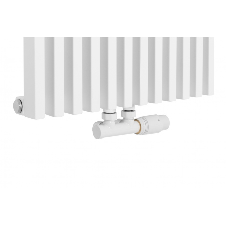 Zawór termostatyczny zespolony Multiflow biały, figura kątowa prawa podłączony do grzejnika dekoracyjnego Diva 180x46 białego.