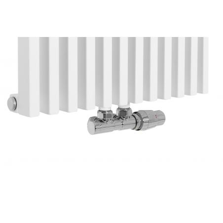 Zawór termostatyczny zespolony Twins chrom, figura kątowa prawa podłączony do grzejnika dekoracyjnego Diva 180x46 białego.