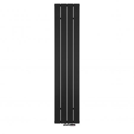 Grzejnik dekoracyjny pionowy Drama, o wymiarach 180x37 w kolorze czarnym strukturalnym, z zaworem termostatycznym zespolonym Twins w kolorze chrom, figura kątowa prawa.