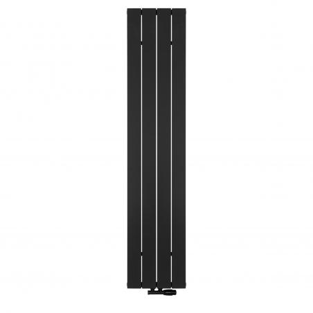 Grzejnik dekoracyjny pionowy Drama, o wymiarach 180x37 w kolorze czarnym strukturalnym, z zaworem termostatycznym zespolonym Twins w kolorze czarnym, figura kątowa prawa.