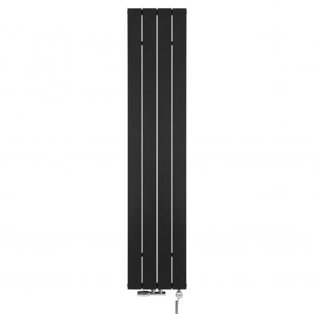 Grzejnik dekoracyjny pionowy Drama, o wymiarach 180x37 w kolorze czarnym strukturalnym, z zaworem termostatycznym zespolonym Multiflow w figurze kątowej lewej, kolor chrom oraz grzałką elektryczną w  MOA 600W w kolorze chrom.