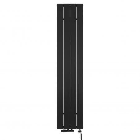 Grzejnik dekoracyjny pionowy Drama o wymiarach 180x37 w kolorze czarnej struktury z Zaworem termostatycznym zespolonym Multiflow w kolorze czarnym, figura kątowa lewa, oraz grzałką elektryczną MOA 600W czarną.