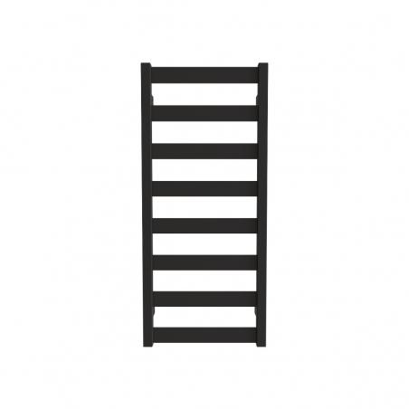 Grzejnik łazienkowy Terma Leda o wymiarach 91x40cm kolor czarny mat, podłączenie dolne o rozstawie 370mm.