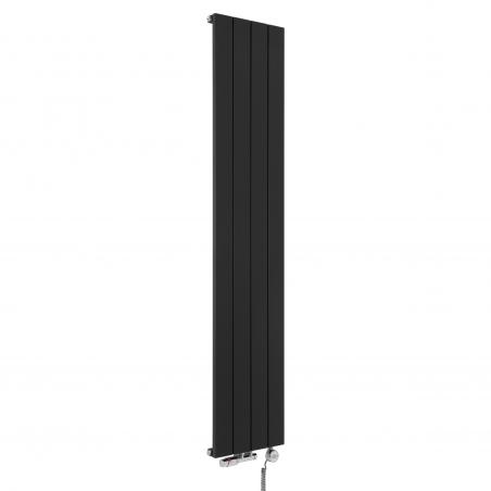 Grzejnik dekoracyjny pionowy Drama w kolorze czarnym o wymiarach 180x37 z zaworem termostatycznym zespolonym w figurze kątowej lewej, kolor chrom, oraz grzałką elektryczną MOA 600W chrom.